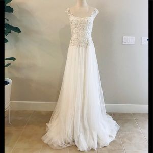 Marchesa beaded illusion tulle wedding dress